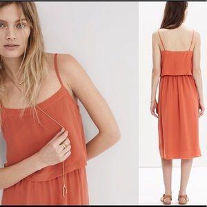 Madewell silk overlay dress in coral/salmon - 4